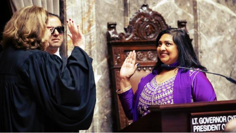 Mona Das from Bihar takes oath as Washington State Senator with Gita in hand